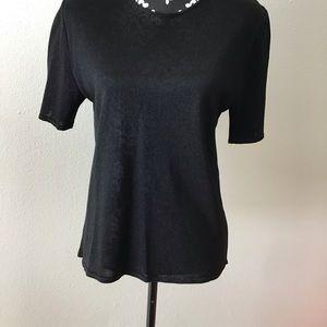 Escada black sparkle blouse shoulder pads